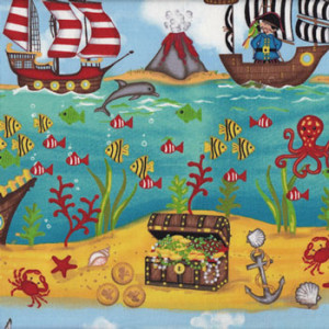 Pirates Ship Clouds Border Quilt Fabric