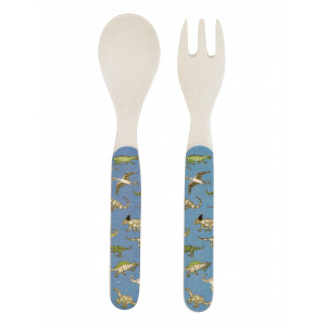 Little Blue House Dinosaur Design Kids Bamboo Fork Spoon Utensil Set