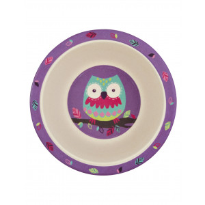 Little Blue House Party Owls Kids Bamboo Bowl
