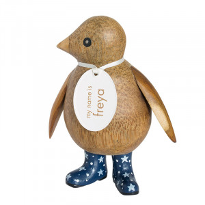 Baby Emperor Penguin Wooden Ornament Navy Blue Night Sky Boots
