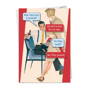 May I Buy You a Cocktail Birthday Retro Card