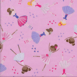 Ballerina Ballet on Pink Girls with Metallic Silver Quilting Fabric
