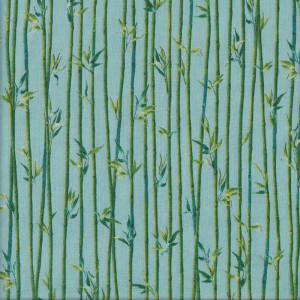 Bamboo and Leaves on Blue Quilt Fabric