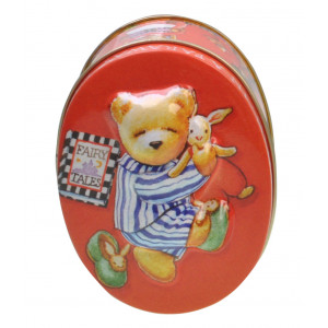 Embossed Decorative Storage Oval Tin Fairy Tales Teddy Bear
