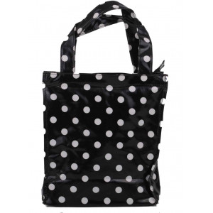 Black & White Polka Dot Oil Cloth Small Fashion Shopping Bag