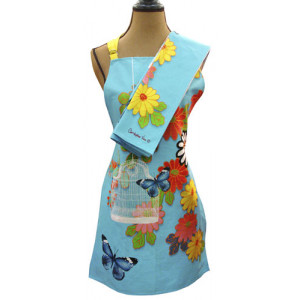 Butterflies Birdcage Flowers Apron and Tea Towel Set
