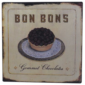 Gourmet Chocolate Bon Bons Rustic Tin Sign