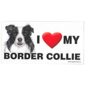 I Love My Border Collie Dog Fridge Office Fun Magnet