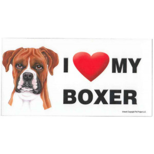I Love My Boxer Dog Fridge Office Fun Magnet