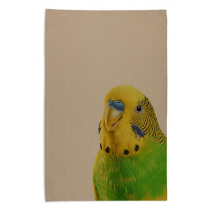 Budgie Face Australian Native Bird Tea Towel Organic Cotton Beige
