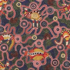Burrambin Animals Dots Australian Aboriginal Indigenous Quilting Fabric