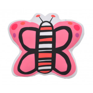 Kids Childrens Butterfly Soft Stuffed Cushion Pink and Yellow