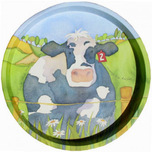 Cow Farm Animal Emma Ball Round Tin Serving Tray