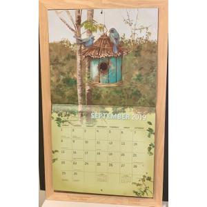 Timber Decorative Calendar Frame Holder - Straw