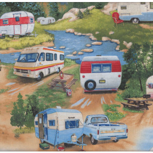 Retro Vintage Caravans Motorhome Mountains Trees Quilting Fabric