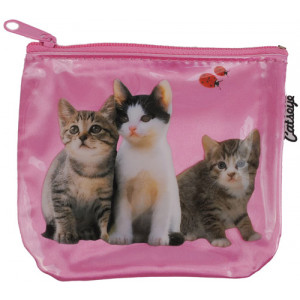 Kittens And Ladybirds Cats on Pink Zip Purse