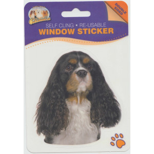 Cavalier Tri Colour Dog Self Cling Re-usable Window Sticker