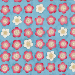 Satsuki Japanese Cherry Blossom Flowers on Blue Quilt Fabric