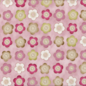 Satsuki Japanese Cherry Blossom Flowers on Pink Quilt Fabric
