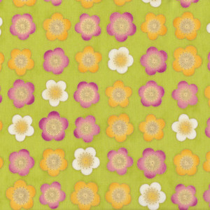 Satsuki Japanese Cherry Blossom Flowers on Green Quilt Fabric