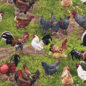 Chickens Roosters Hens Grass Quilting Fabric