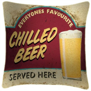Chilled Beer Art Print Retro Cushion Martin Wiscombe