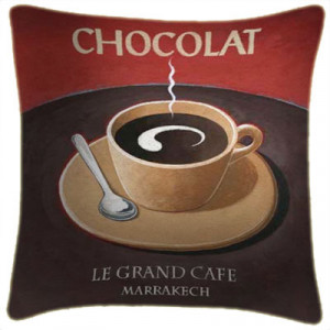 Chocolat Art Print Retro Cushion Martin Wiscombe