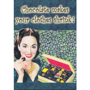 Chocolate Makes Your Clothes Shrink Retro Fridge Magnet