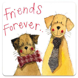 Friends Forever Dogs Cork Backed Drink Coaster By Alex Clark