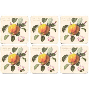 Set of 6 Cork Backed Drink Coasters Hookers Fruit
