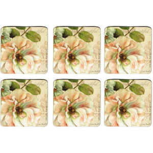 Set of 6 Cork Backed Drink Coasters Beautiful Garden Roses Les Jardins