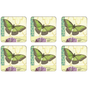 Set of 6 Cork Backed Drink Coasters Butterfly Post Card Design