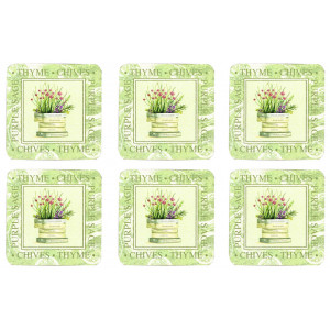 Set of 6 Cork Backed Drink Coasters Fresh Herbs Design