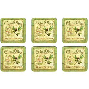 Set of 6 Cork Backed Drink Coasters Olives Olio d Oliva Design