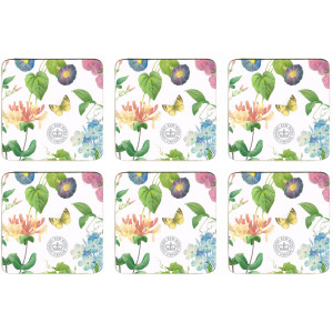 Set of 6 Cork Backed Drink Coasters Redoute Meadow Butterfly Floral Flowers
