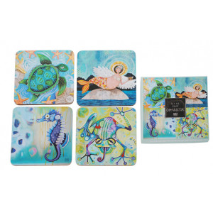 Cork Backed Drink Coasters Water Dwellers Set of 4