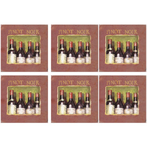 Set of 6 Cork Backed Coasters Wine Cellar