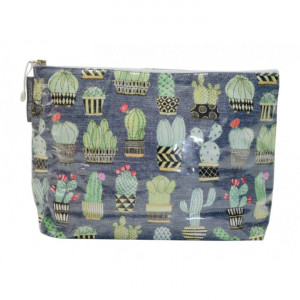 Large Cosmetic Makeup Toiletry Travel Bag Funky Cactus