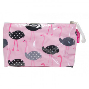 Cosmetic Makeup Toiletry Travel Bag Ostrich on Pink Small
