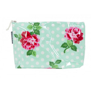 Cosmetic Beauty Makeup Storage Toiletry Travel Bag Rose Polkadot Large