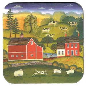 Cows Sheep Barn Design Country Style Cork Backed Drink Coaster
