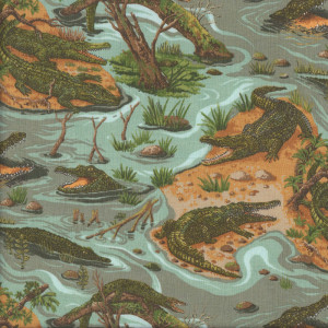 Crocodiles Australian Animals Quilting Fabric