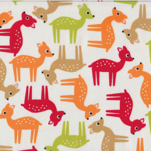 Deer on White Woodland Pals Ann Kelle Quilt Fabric