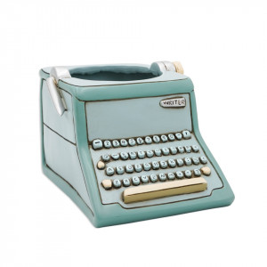 Typewriter Writer Blue Resin Indoor Pot Planter