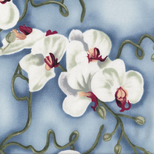 Orchids Flowers on Blue Quilt Fabric