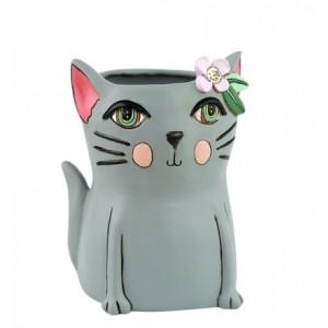 Pretty Kitty Cat Grey Resin Indoor Pot Planter