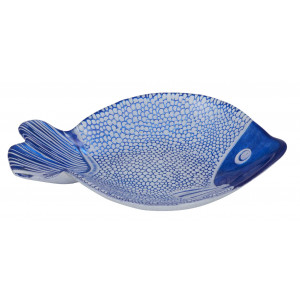 Darla Blue Fish Glass Plate Dish
