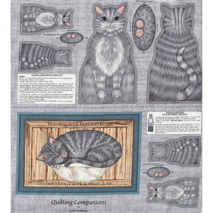 Grey Cat Fabric Quilting Panel Applique