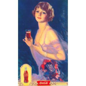 Coca Cola Lady Drinking Nostalgic Postcard