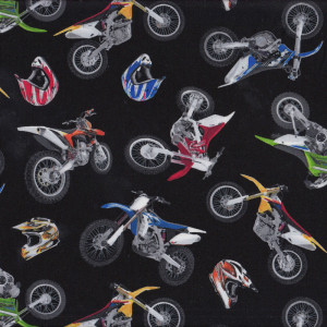 Dirt Bikes and Helmets on Black Boys Quilt Fabric